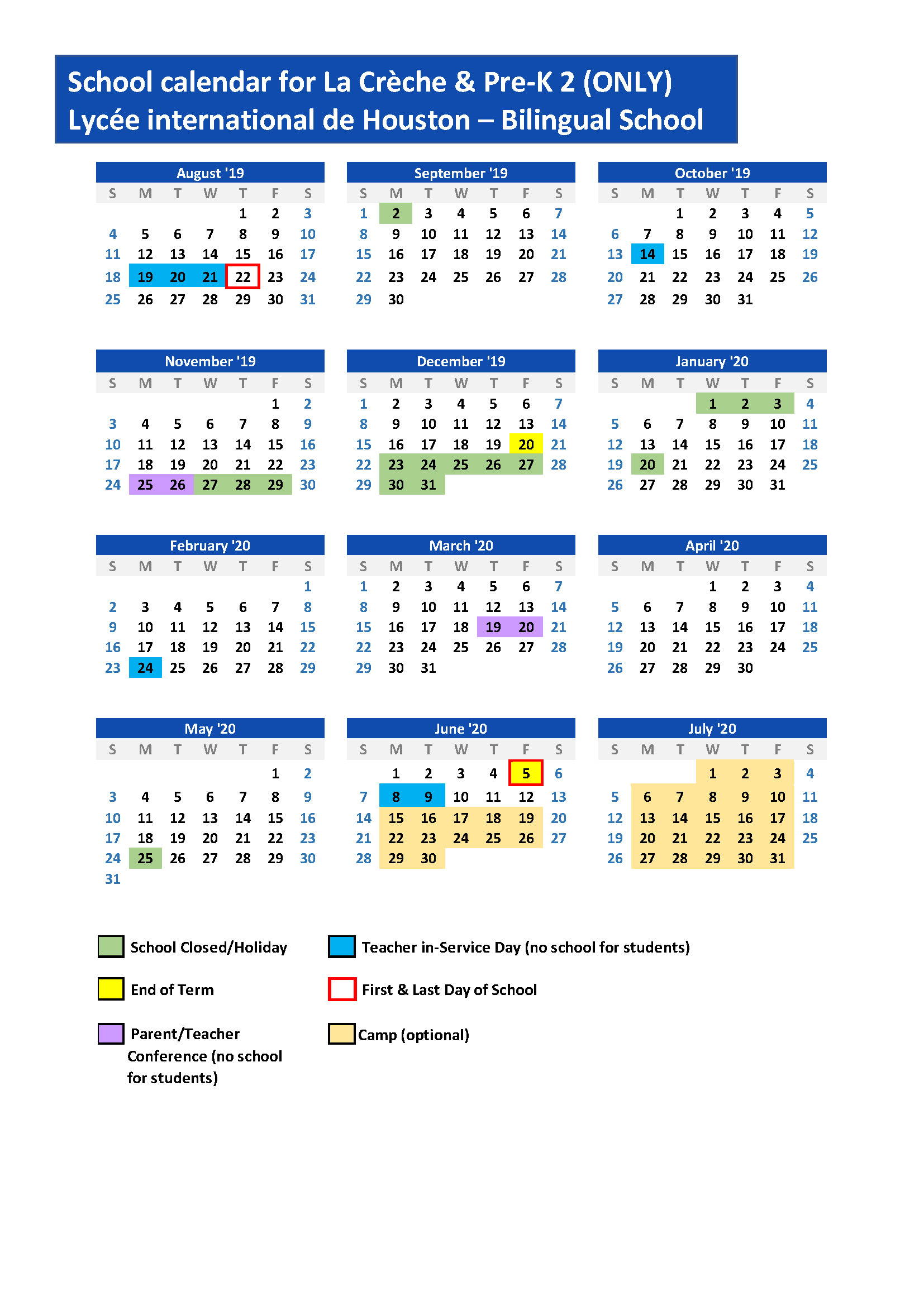 Calendario Estate 2020.Calendar Lycee International De Houston